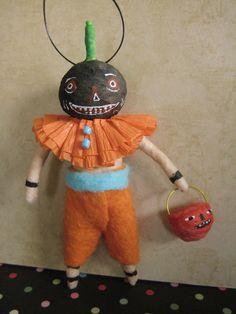 Jack O Lantern boy Spun Cotton ornament by Maria Pahls