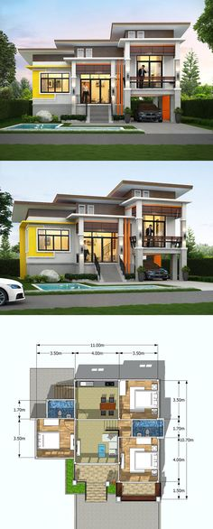 18 House Design In Philippines 2015 House Design In Philippines 2015 - e And A Half Storey House Floor Plan with 3 Bedrooms simple modern house designs – pleasehodl Ultra Modern Homes Fl. Modern Bungalow House Design, Modern House Floor Plans, Best Modern House Design, Simple House Design, Modern Bungalow Exterior, 3 Storey House Design, Two Story House Design, Two Storey House Plans, One Storey House