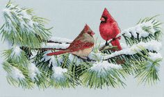 "Winter Cardinals Counted Cross Stitch Kit-15""""X9"""" 16 Count"