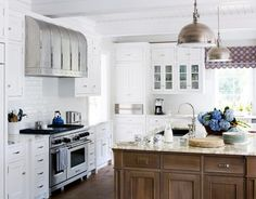 subway tile and wood island