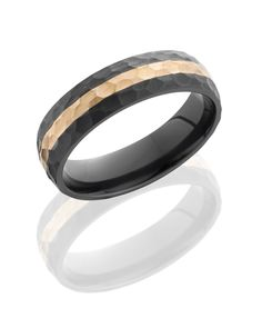 Black Zirconium 6mm Wide Hammered Wedding Band with 14K Rose Gold Inlay