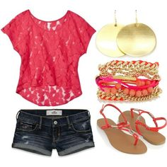bright summer looks style-style-style Beauty And Fashion, Tween Fashion, Cute Fashion, Look Fashion, Passion For Fashion, Coral Fashion, High Fashion, Fashion 2014, Ladies Fashion