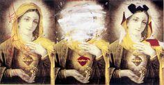 "Antonio Fonseca Vázquez. From left to right: La Virgen Del Platanal, The Virgine of the Plantains, La Virgen Desconosida, The Uncknown Virgin, La Virgen Borinqueña, The Borinquña Virgen. Positive photo lithography, silkscreen soft pastels and oil paint on paper. 36""x 26.5"". 1999"
