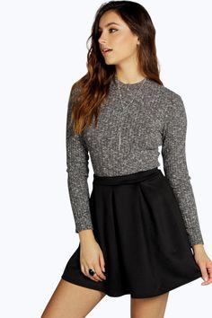 Aya Scuba Box Pleat Skater Skirt