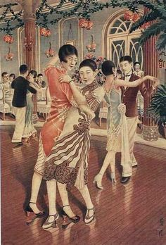 1920s Dance Hall, China. The dancer on the left in the foreground seems to be wearing a cheongsam (known in Mandarin as a qípáo) - which would have been quite a new style of garment in this era, as it developed in the 1920s in Shanghai.