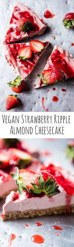 Strawberry Ripple Almond Cheesecake   halfbakedharvest.com @hbharvest