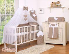 Łóżeczko+materac+pościel- Wiszące serduszka grochy na brązie-16cz - Pościel dla dzieci i niemowląt - największy sklep internetowy