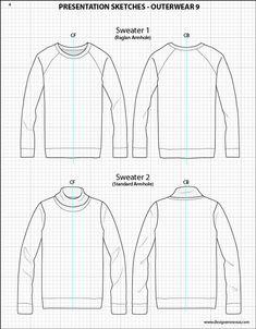 Mens Illustrator Flat Fashion Sketch Templates - Presentation Sketches Sweaters…