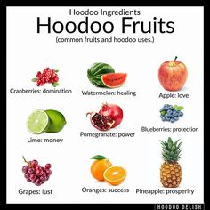 Image may contain: fruit, food and text Magic Herbs, Herbal Magic, Hoodoo Spells, Witchcraft, Witch Spell Book, Voodoo Hoodoo, Witch Herbs, Eclectic Witch, Kitchen Witchery