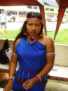 Shuar woman at Shuar cultural festival Yantzaza, Ecuador