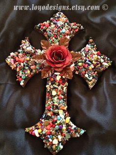 Pictures of Mosaic Crosses   16x12 Wooden cross, mosaic cross, wall cross with glass gems