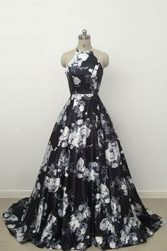 Prom Dress Princess, Simple Black Long Prom Dress,Cute black and white floral satin halter prom dress Shop ball gown prom dresses and gowns and become a princess on prom night. prom ball gowns in every size, from juniors to plus size. Prom Dress Black, Black Evening Dresses, Elegant Dresses, Pretty Dresses, Evening Gowns, Beautiful Dresses, Vintage Formal Dresses, Black And White Ball Dresses, Black And White Prom Dresses