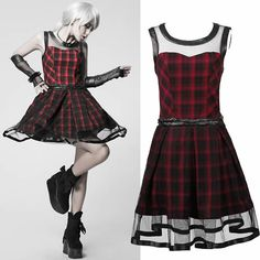 Red Plaid Sleeveless Knee Length A Line Steampunk Punk Fashion Dress SKU-11402313
