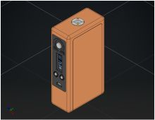 Technical illustration of the Model II Mod.  Dual/Triple 18650/26650 or 3s LiPo. Shown with DNA75 chipset, Black plastic Faceplate, Fat Daddy Vapes 510 Woody connector, Keystone battery sled. $189