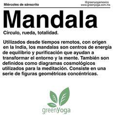 Hoy es miércoles de sánscrito y la palabra de hoy es mandala. Quienes quieran conocer más acerca de esto, en el retiro de yoga que tenemos este fin de semana, lo usaremos para meditar. #miercolesdesanscrito #namaste #mandala #yoga #greenyoga #greenyogamexico #meditation #theuniverse #meditacion #cosmos