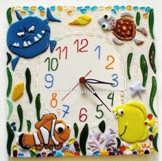 Handmade glass wall clock in fusing technique