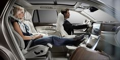 Volvo may not be done with its luxury cabin appointments. The company is also working on its Lounge Concept complete with foot rest and massive LCD screen.