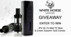 IPV D2 75 Watt TC Mod & Crown Subohm Tank Combo and 120 milliliters of White Horse's newest handcrafted premium e-liquid: Clutch.