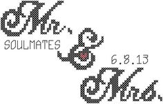 Card Size Cross Stitch Pattern Mr & Mrs. with Date andthe text Soulmates