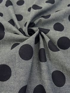 New Arrival! Blue/White/Navy Polka Dot 100% Cotton Chambray 56W