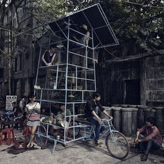Swiss architecture firm Bureau A created a seven-story 'skyscraper' on the back of a tricycle. Their so-called Ta đi Ôtô installation roams the streets of Vietnam's capital Hanoi and can be used or various purposes, such as a performance space or street kitchen.