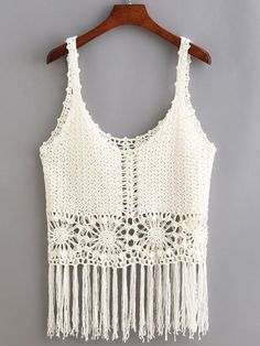 Fringe+Trimmed+Crop+Crochet+Cami+Top+-+White+13.99