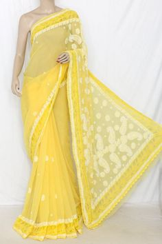 Golden Yellow Designer Hand Embroidered Lucknowi Chikankari Saree (With Blouse - Georgette Saree with Net Border) 14302