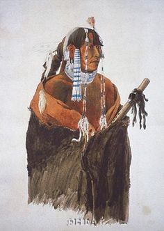 Mandeh-Pahchu, Mandan Man by Carl Bodmer Native American Flute, Native American Tribes, Plains Indians, West Art, American Indian Art, Native Art, First Nations, Unique Art, Indiana
