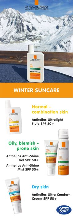 Protect your skin from damaging UV rays this winter with La Roche-Posay Anthelios Sunscreen. Whatever your skin type, there's a sunscreen specifically for you! #Anthelios #LaRochePosay #WinterSun #SunProtection #Sun #Ski