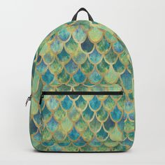 Mermaid Scales (green) Backpacks by ArtLovePassion. Worldwide shipping available at Society6.com. Just one of millions of high quality products available. #backpack #back2school #mermaid #reptile #snake #society6 #artlovepassion