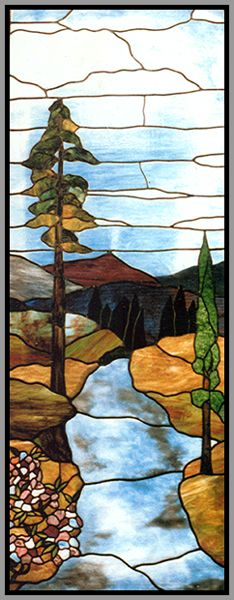 stained glass landscape | Old World Stained Glass - Custom Stained Glass Panel
