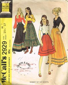 Vintage Sewing Pattern Boho Gypsy Prairie Skirt Skirts McCall's 2929 Med 25.5 in Collectibles, Sewing (1930-Now), Patterns | eBay