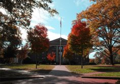 The south facing entrance of Chambers in the Fall #davidsoncollege #autumnleaves