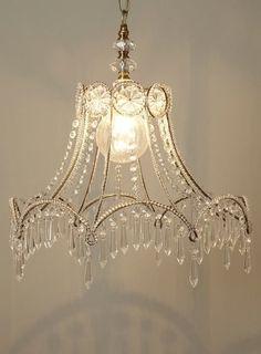 From A Lamp Shade Lampshade Chandelierdiy Lampshadechandelier Crystalsbeaded