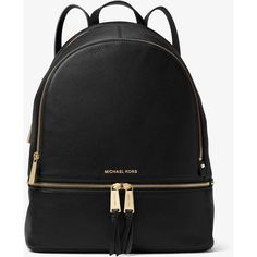 MICHAEL Michael Kors Rhea Large Leather Backpack ($358) ❤ liked on Polyvore featuring bags, backpacks, michael michael kors, day pack backpack, rucksack bags, backpack laptop bag and real leather backpack
