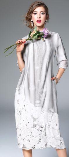 Grey Silk Scoop Neck Sleeve Floral Print Shift Midi Dress