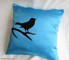 Bird On Brunch Aqua Blue And Black Pillow Cover. Modern Bird Cushion