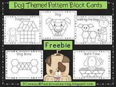 Kids love using pattern blocks to make pictures! Here's a fun little Math Station to use as you celebrate our furry friends.  Five pattern block pictures are included: a dog, a doghouse, a bone, bath time and walking the dog.  Enjoy!
