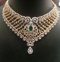 Jewellery Designs: 8 Lakhs Diamond Bridal Sets by PSJ: Diamond Jewelry, Diamond Indian Diamond Choker Necklace, Diamond Jewelry, Emerald Diamond, Diamond Pendant, Schmuck Design, Necklace Designs, Indian Jewelry, Wedding Jewelry, Jewelry Sets