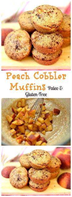 Delicious breakfast muffins with peaches and cinnamon. No refined sugar, grain-free, Paleo, and GF.