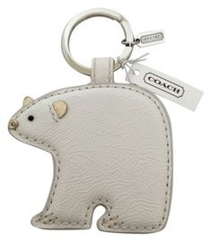 Coach Coach Leather Polar Bear Keychain Keyfob