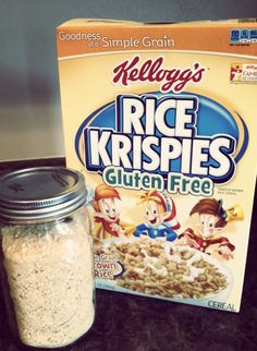 gluten free bread crumbs using gluten free rice krispies... genius! I'm thinking my gf chex would be even more tasty though....