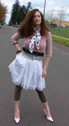 Polka Dots, Stripes, and Lace Many stylists will tell you not to wear too many patterns at once, but in the era of excess, you would of. 80's Fashion Pictures, 1980s Fashion Trends, 80s Outfit, 80s Party, Sweet Memories, Stylists, Vintage Fashion, Ballet Skirt, Stripes