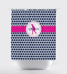 This moddot patterned shower curtain will help you show off your love for basketball!  You can choose any colors you want or order it in the navy blue, hot pink and white color combo shown.  We will personalize it with your name.  Perfect for girl and teens who love to play basketball!