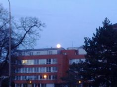 The quality is terrible:( But..this is the Moon above the police station...It's a beautiful scenery, isn't it?:D