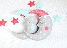 This sleepyhead is an adorable gift for baby shower and also for nursery or kids room decoration.  The moon is made of 100% cotton fabrics and embellished
