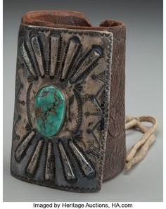 American Indian Art:Jewelry and Silverwork, A NAVAJO SILVER AND TURQUOISE BOW GUARD. c. 1930...