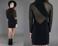 Vtg 80s Black Mesh Cut Out Bandage Bodycon Mini by theindustry, $86.00