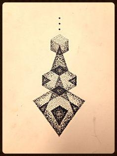 Geometric dotwork triangle tattoo design, trippy sacred geometry.