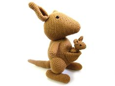 Its a beautiful kangaroo... with a Joey!    With this pdf pattern, you can crochet your own kangaroo... shes 14 inches tall completed. Make her as